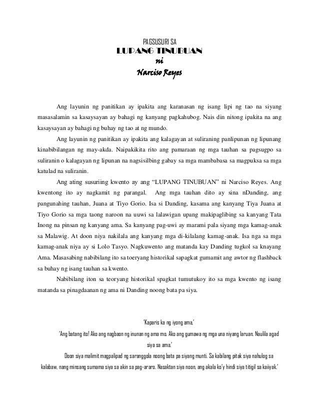 Summary of the short story lupang tinubuan by narciso g Reyes?