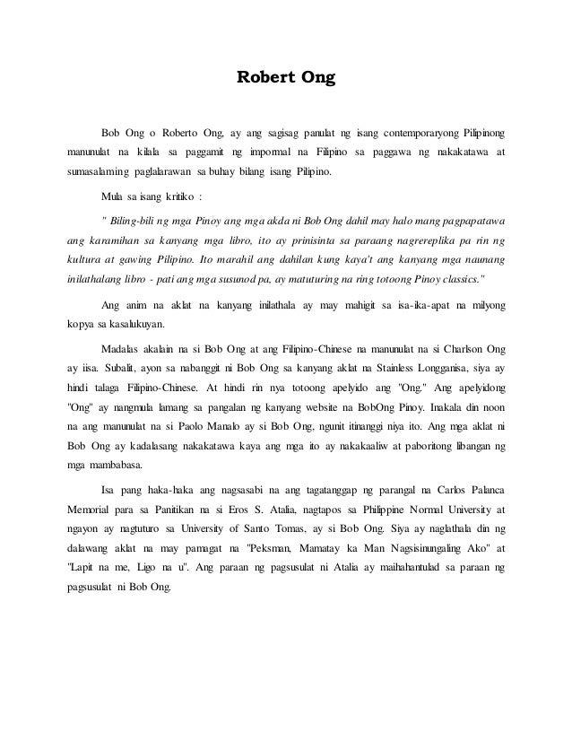 Halimbawa ng book report sa tagalog