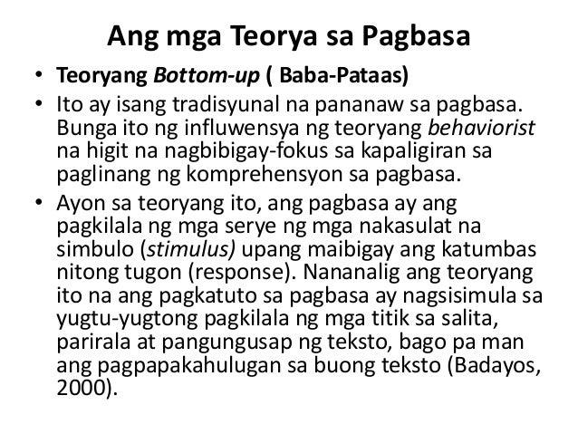 salik sa teoryang bottom up Apat na teorya ng pagbasa teoryang bottom-up-ito ay isang traditional na pagbasa ay nagsisimula sa teksto (bottom), patungo sa mambabasa (up).