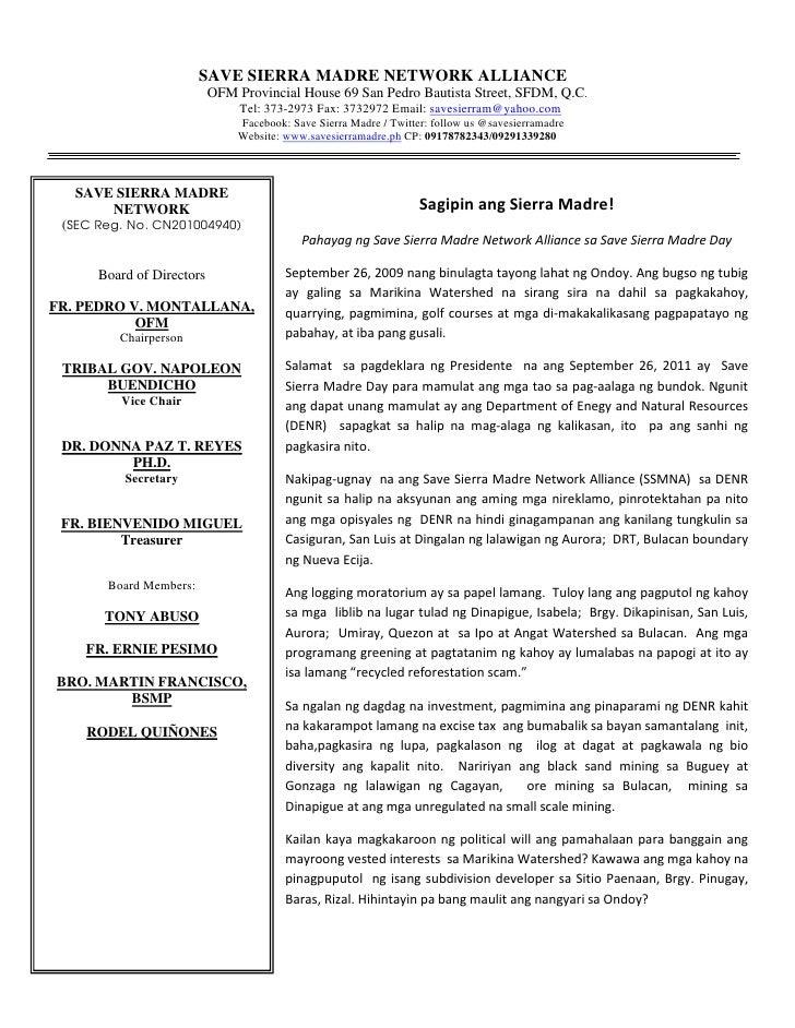 SAVE SIERRA MADRE NETWORK ALLIANCE                           OFM Provincial House 69 San Pedro Bautista Street, SFDM, Q.C....