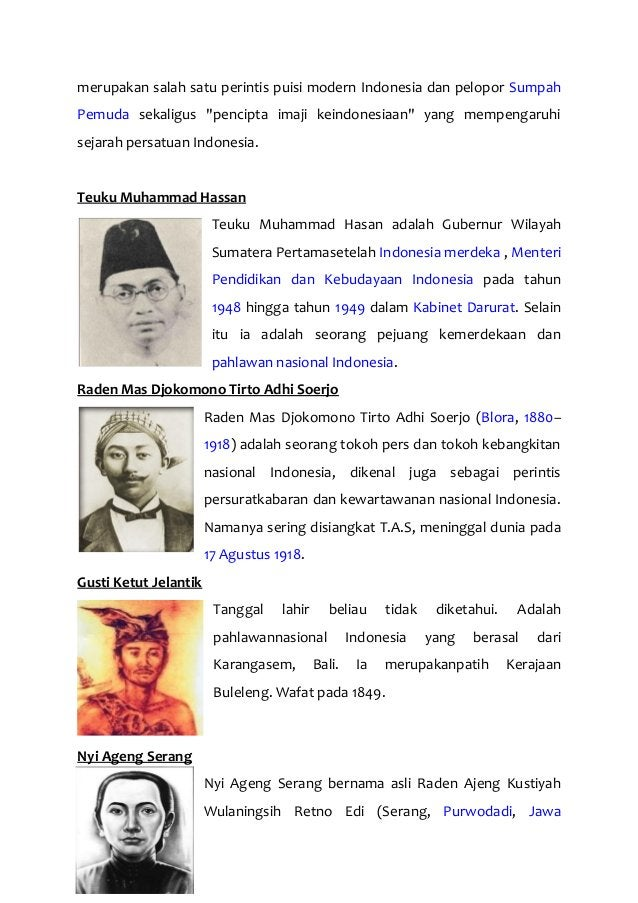 """merupakan salah satu perintis puisi modern Indonesia dan pelopor Sumpah Pemuda sekaligus """"pencipta imaji keindonesiaan"""" ya..."""