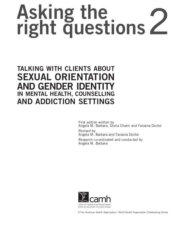 ... GENDER IDENTITY IN MENTAL HEALTH, COUNSELLING AND ADDICTION SETTINGS; 2.
