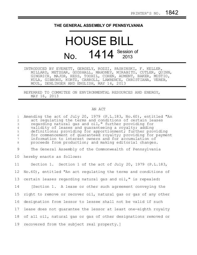 PRINTERS NO. 1842THE GENERAL ASSEMBLY OF PENNSYLVANIAHOUSE BILLNo. 1414 Session of2013INTRODUCED BY EVERETT, GERGELY, ROZZ...