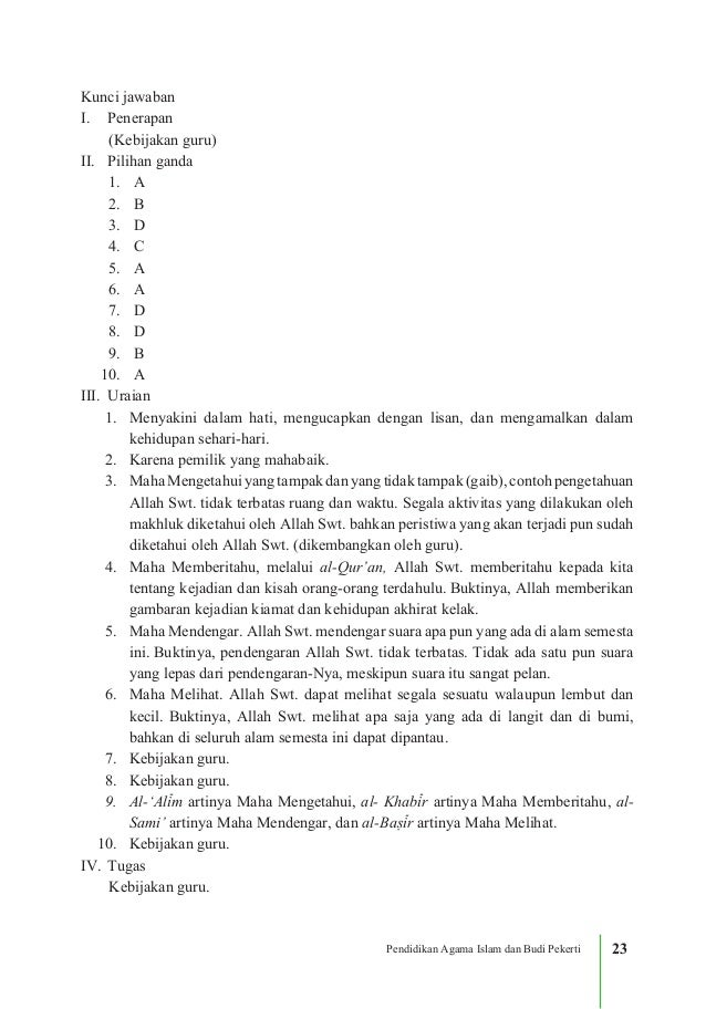 Kunci Jawaban Agama Islam Kelas 11 Bab 11 Kurikulum 2013