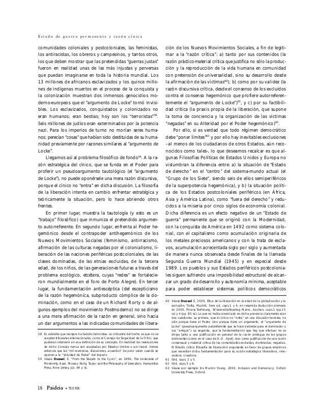 TEORÍA • Paideia 17 E n r i q u e D u s s e l –donde pudiera ejercerse la soberanía de los pueblos-. Hablar en estos Estad...
