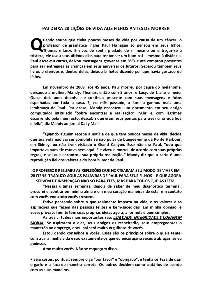 PAI DEIXA 28 LIÇÕES DE VIDA AOS FILHOS ANTES DE MORRERQ       uando soube que tinha poucos meses de vida por causa de um c...