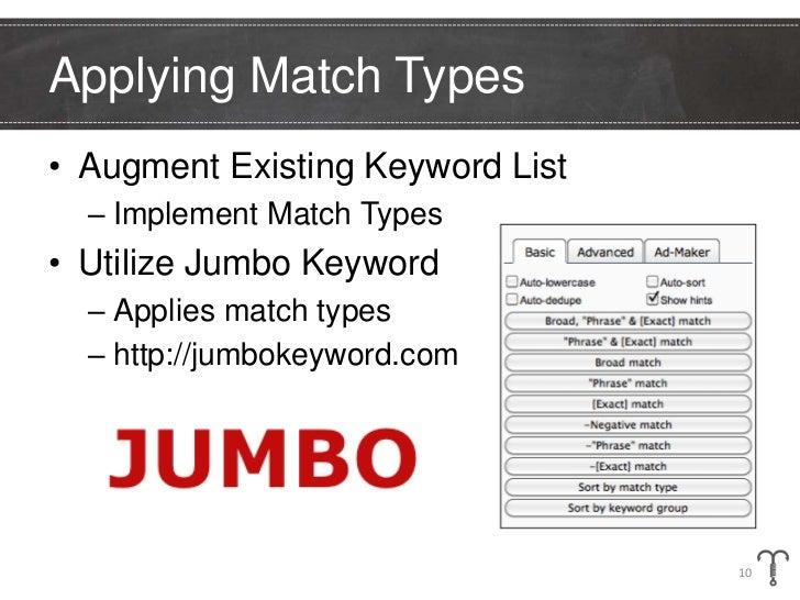 Applying Match Types• Augment Existing Keyword List  – Implement Match Types• Utilize Jumbo Keyword  – Applies match types...