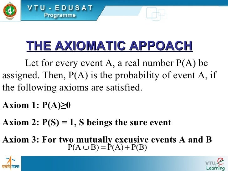 THE AXIOMATIC APPOACH Let for every event A, a real number P(A) be assigned. Then, P(A) is the probability of event A, if ...