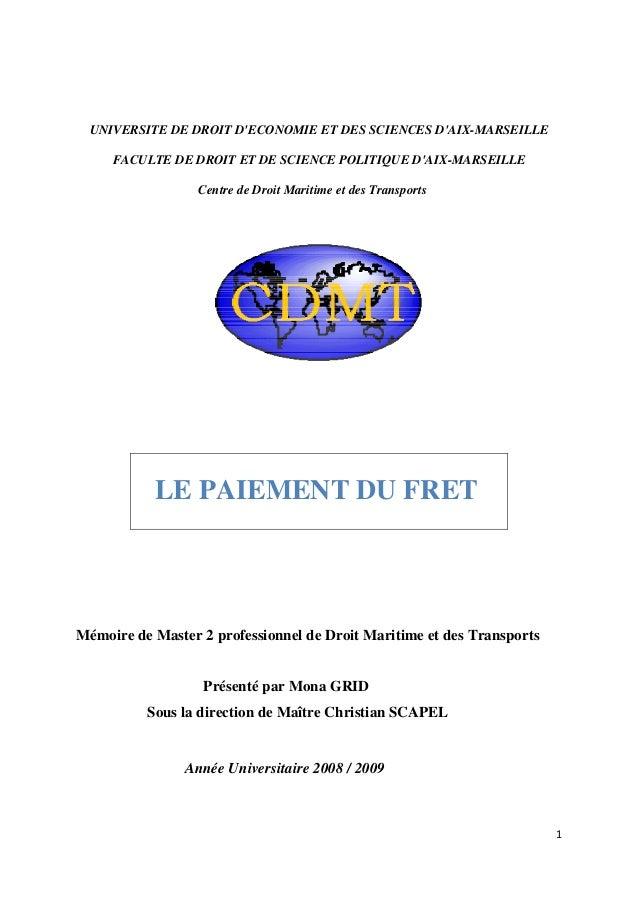 1  UNIVERSITE DE DROIT D'ECONOMIE ET DES SCIENCES D'AIX-MARSEILLE FACULTE DE DROIT ET DE SCIENCE POLITIQUE D'AIX-MAR...