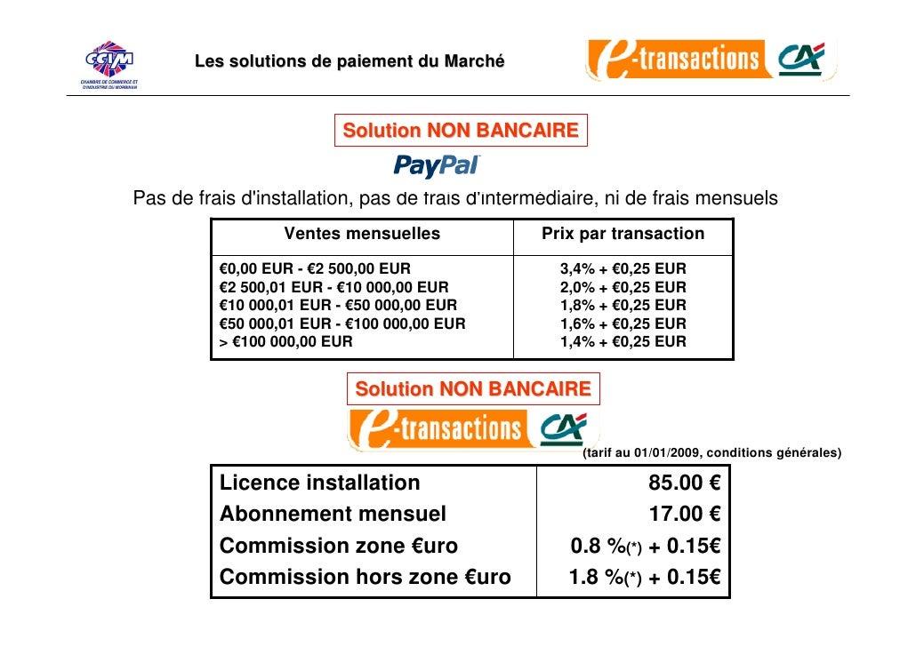 Les solutions de paiement du Marché                              Solution NON BANCAIRE   Pas de frais d'installation, pas ...