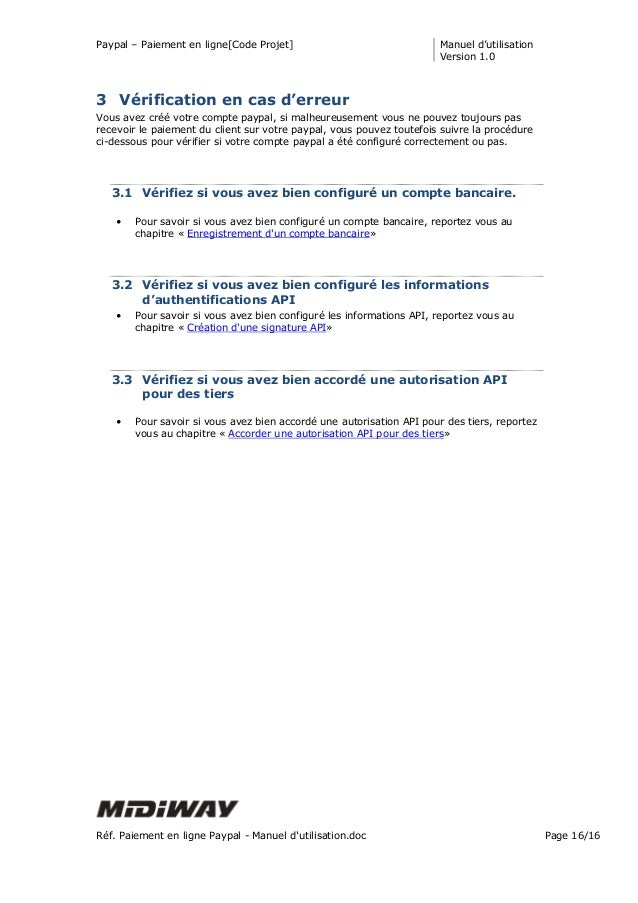 Paypal – Paiement en ligne[Code Projet] Manuel d'utilisation Version 1.0 Réf. Paiement en ligne Paypal - Manuel d'utilisat...