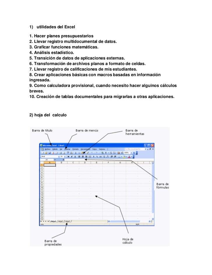 1) utilidades del Excel1. Hacer planes presupuestarios2. Llevar registro multidocumental de datos.3. Graficar funciones ma...