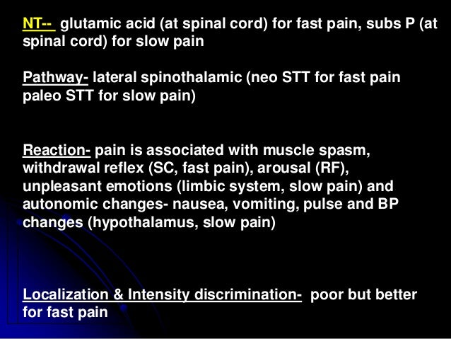 NT-- glutamic acid (at spinal cord) for fast pain, subs P (at spinal cord) for slow pain Pathway- lateral spinothalamic (n...