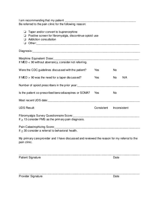 Sample Pain Clinic Referral Form