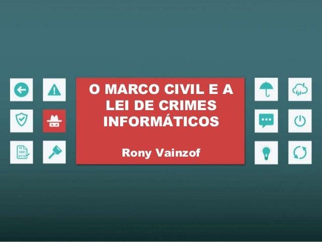 O MARCO CIVIL E A LEI DE CRIMES INFORMÁTICOS Rony Vainzof
