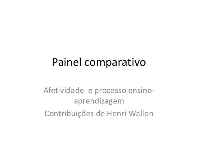 Painel comparativoAfetividade e processo ensino-         aprendizagemContribuições de Henri Wallon