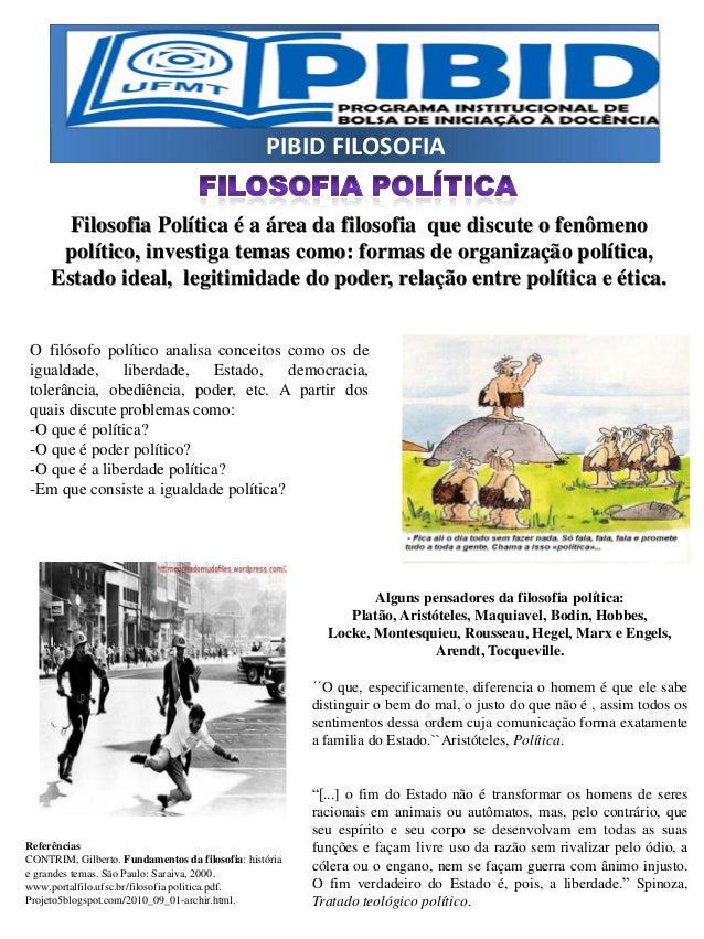 PIBID FILOSOFIA Filosofia Política é a área da filosofia que discute o fenômeno político, investiga temas como: formas de ...