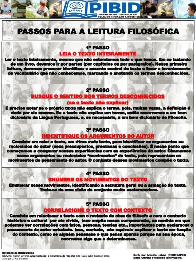 PASSOS PARA A LEITURA FILOSÓFICA Referências Bibliográfica CSAVIAN FILHO, Juvenal. Argumentação: a ferramenta do filosofar...