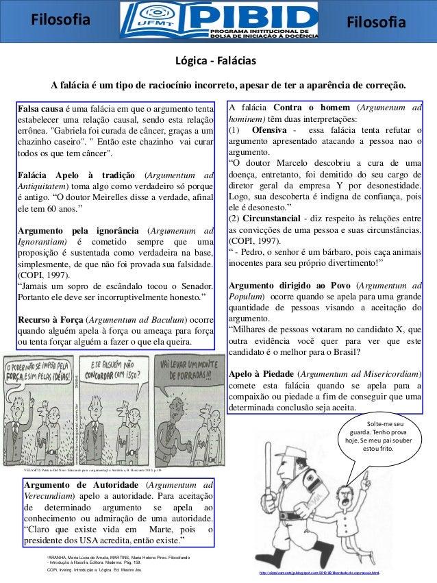 Lógica - Falácias A falácia é um tipo de raciocínio incorreto, apesar de ter a aparência de correção. A falácia Contra o h...