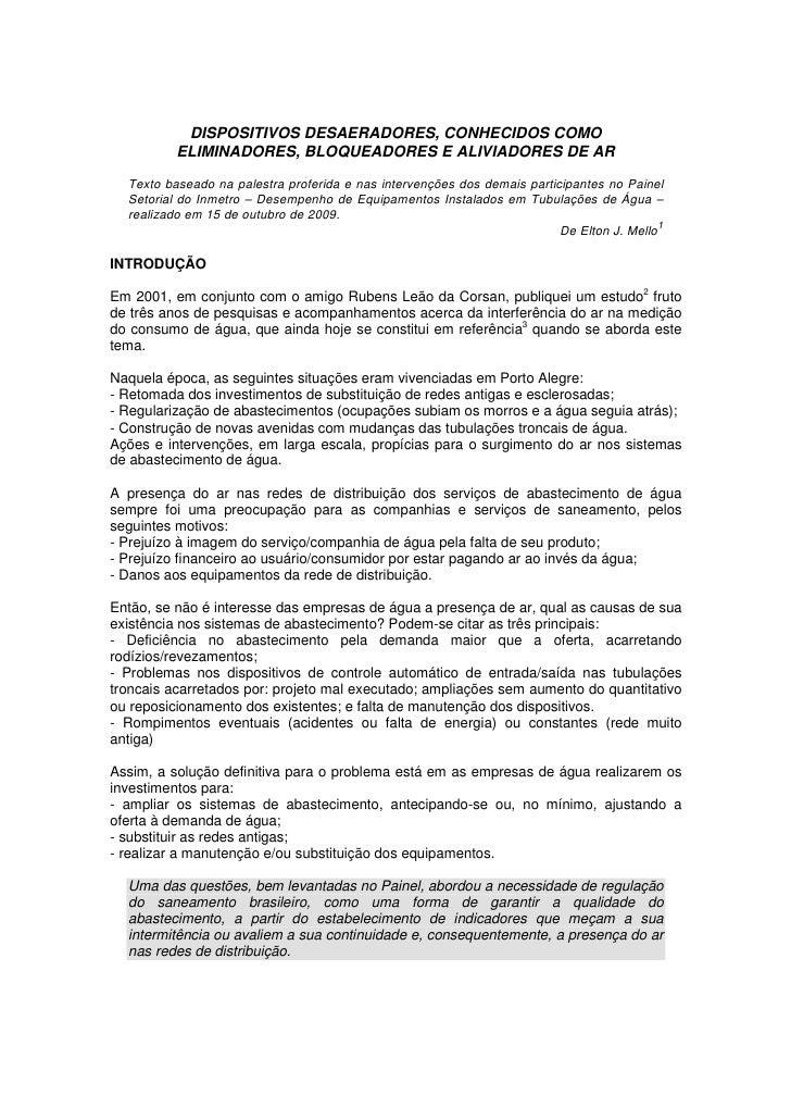 DISPOSITIVOS DESAERADORES, CONHECIDOS COMO           ELIMINADORES, BLOQUEADORES E ALIVIADORES DE AR    Texto baseado na pa...