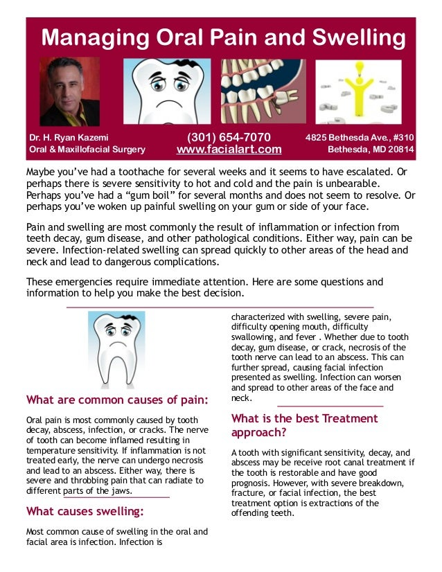 Managing Oral Pain and Swelling  Dr. H. Ryan Kazemi Oral & Maxillofacial Surgery  (301) 654-7070 www.facialart.com  4825 B...