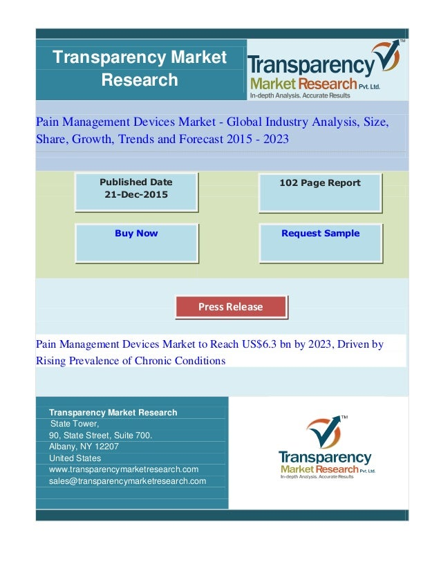 Transparency Market Research Pain Management Devices Market - Global Industry Analysis, Size, Share, Growth, Trends and Fo...