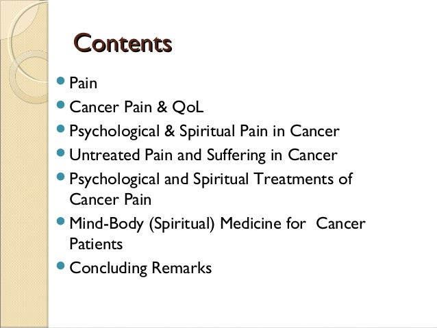 Pain management through spirituality – pain of cancer