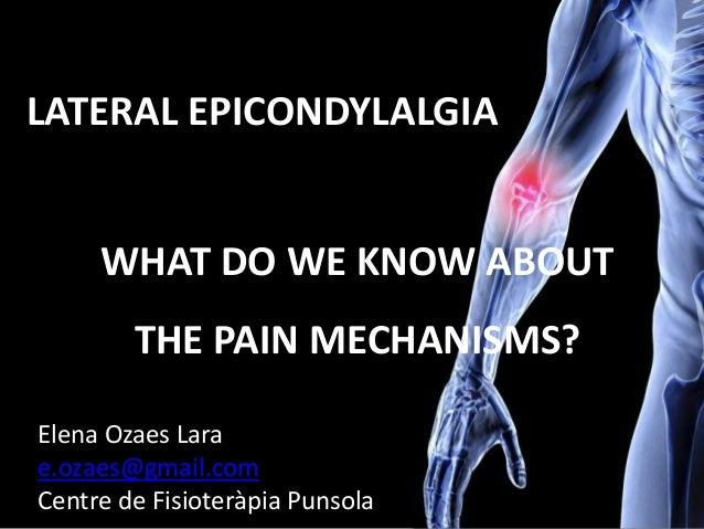 WHAT DO WE KNOW ABOUT THE PAIN MECHANISMS? LATERAL EPICONDYLALGIA Elena Ozaes Lara e.ozaes@gmail.com Centre de Fisioteràpi...