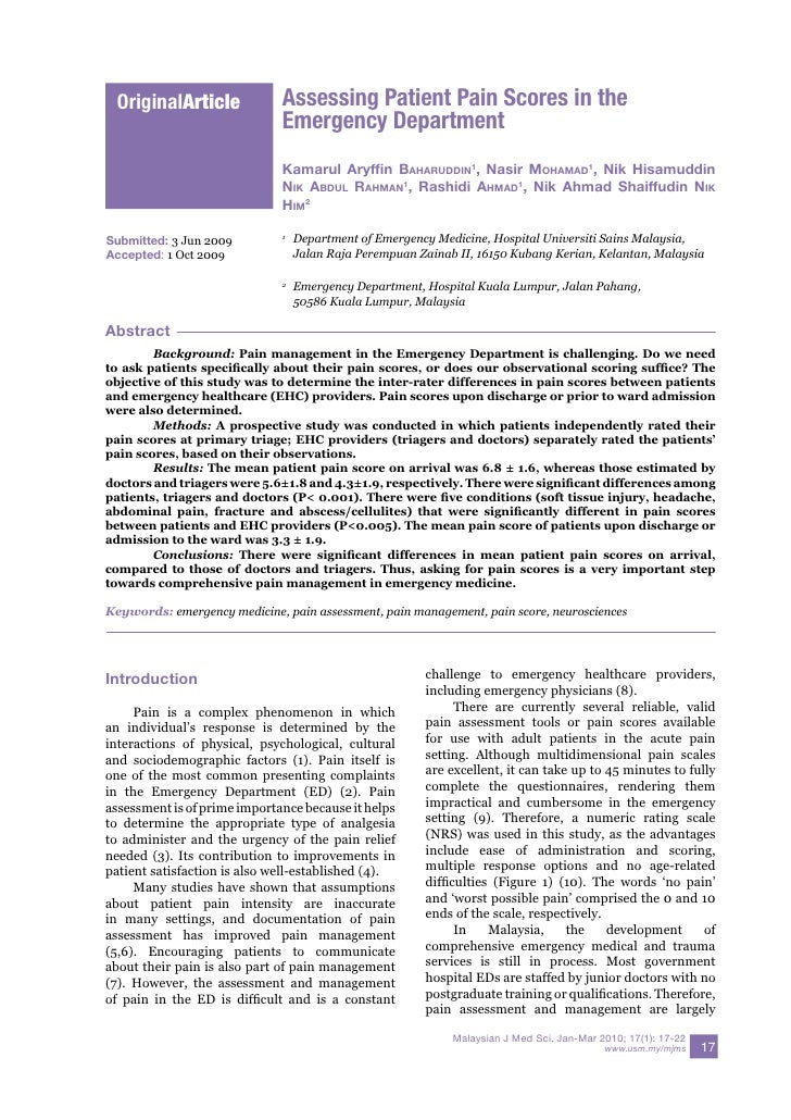 OriginalArticle             Assessing Patient Pain Scores in the                               Emergency Department       ...
