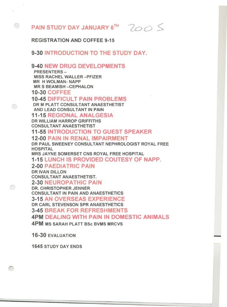 Pain Study day 6th Jan 2005