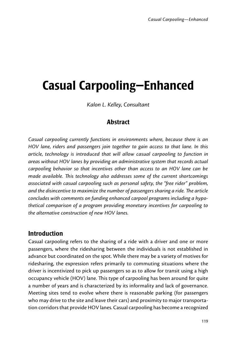 Casual Carpooling—Enhanced           Casual Carpooling—Enhanced                            Kalon L. Kelley, Consultant    ...