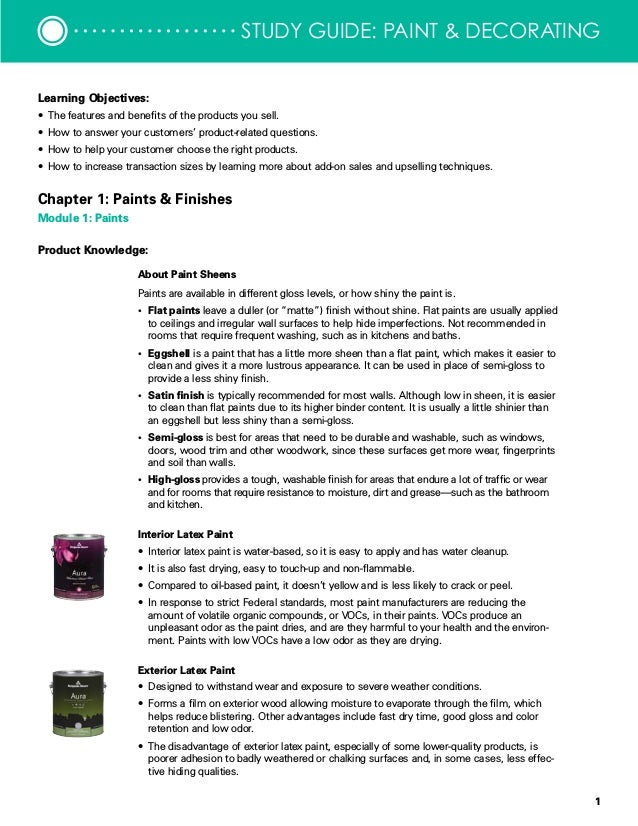 1 Study Guide Paint Decorating Learning Objectives O The Features And Benefits Of