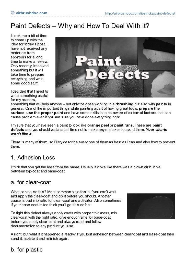airbrushdoc.com                                          http://airbrushdoc.com/tipstricks/paint-defects/Paint Defects – W...