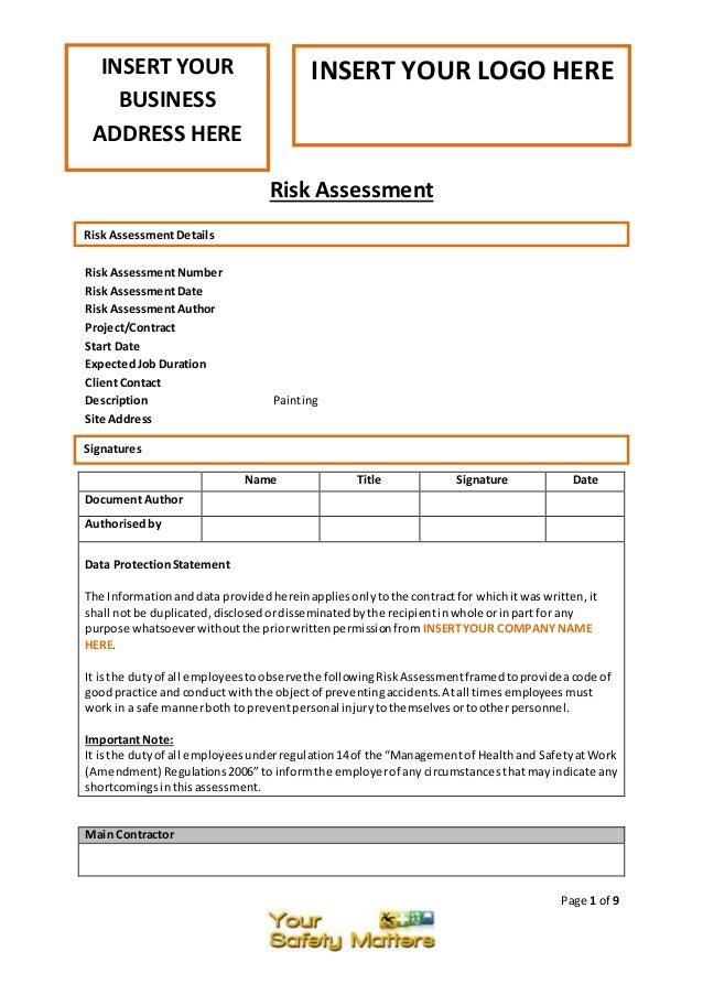 it risk assessment template