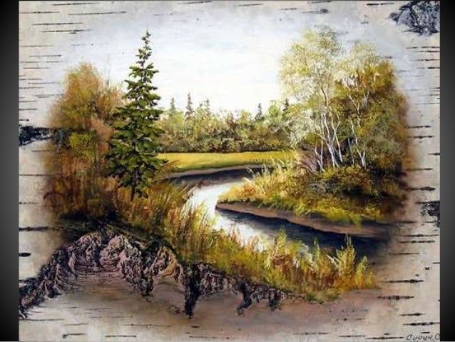Russian painter use birch bark
