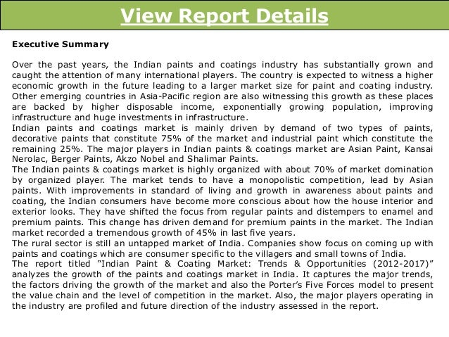 indian paint industry overview Colourant chemicals: the indian colourant industry registered a growth rate of 10% over the period fy 2010-15 and is expected to grow at a rate of 11% over the.