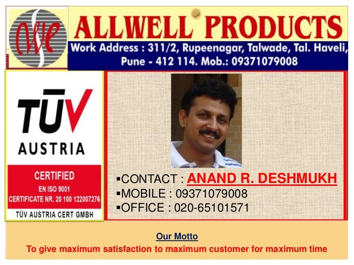 CONTACT : ANAND R. DESHMUKH                   MOBILE : 09371079008                   OFFICE : 020-65101571             ...