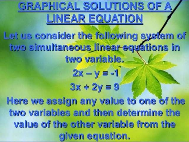 g _ LINEARE UATION  Ii consider the following s - :   two variable  - 2x - y I -1 .   3x + 2y - 9 5.,  '   Here we assign ...