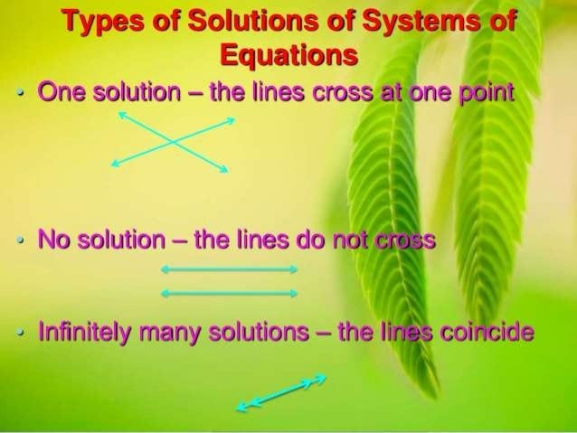 Types of Solutions of Systems of Equations  « One solution - the lines cross at one point  ' § » No solution — the lines d...