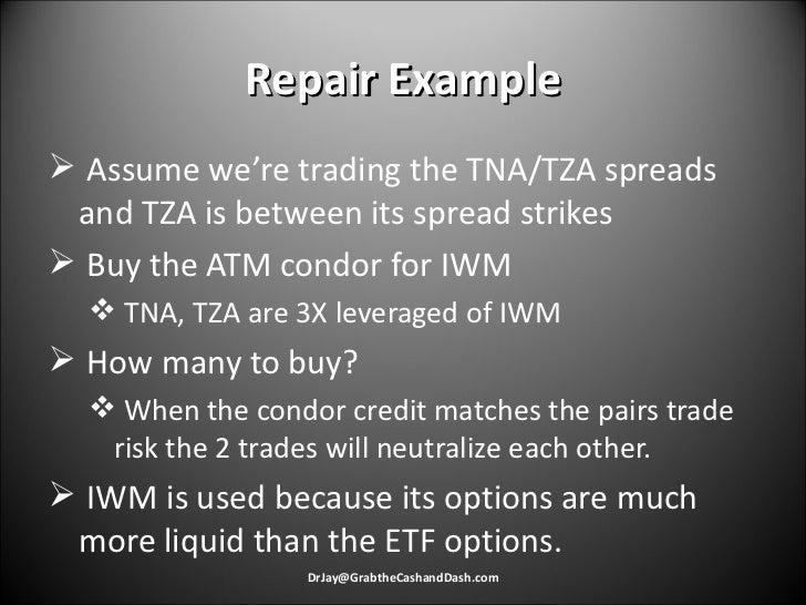 Repair Example <ul><li>Assume we're trading the TNA/TZA spreads and TZA is between its spread strikes </li></ul><ul><li>Bu...