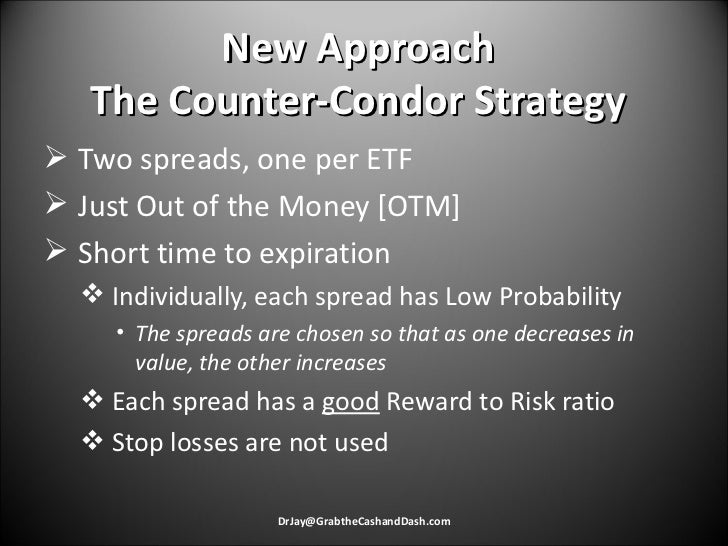 New Approach The Counter-Condor Strategy <ul><li>Two spreads, one per ETF </li></ul><ul><li>Just Out of the Money [OTM] </...