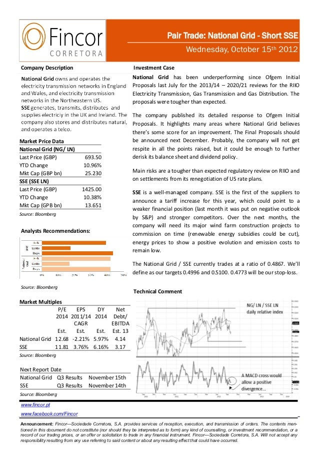 Pair Trade: National Grid - Short SSE                                                                                     ...