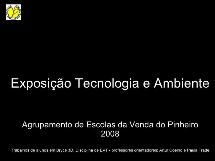 Exposição Tecnologia e Ambiente Agrupamento de Escolas da Venda do Pinheiro 2008 Trabalhos de alunos em Bryce 3D. Discipli...