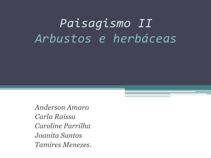 Paisagismo II Arbustos e herbáceas     Anderson Amaro Carla Raissa Caroline Parrilha Joanita Santos Tamires Menezes.
