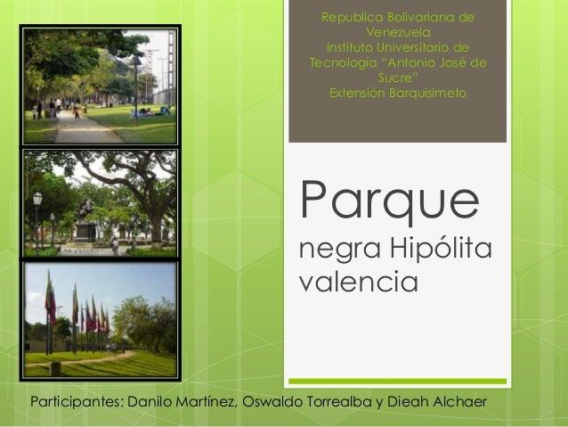 """Republica Bolivariana de Venezuela Instituto Universitario de Tecnología """"Antonio José de Sucre"""" Extensión Barquisimeto Pa..."""