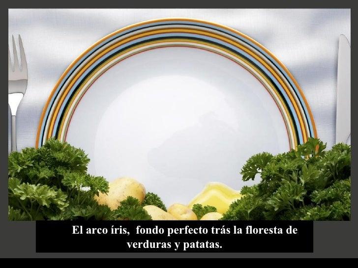 El arco íris,  fondo perfecto trás la floresta de verduras y patatas.