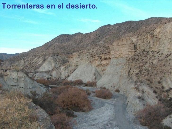 <ul><li>Torrenteras en el desierto. </li></ul>