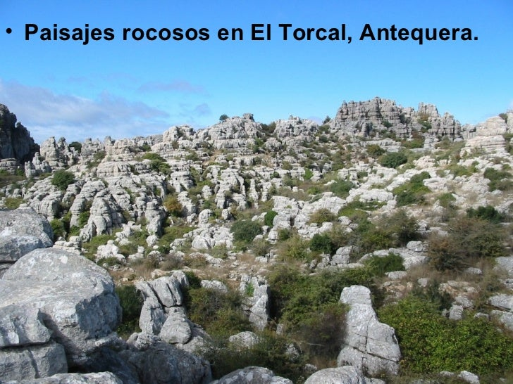 <ul><li>Paisajes rocosos en El Torcal, Antequera. </li></ul>