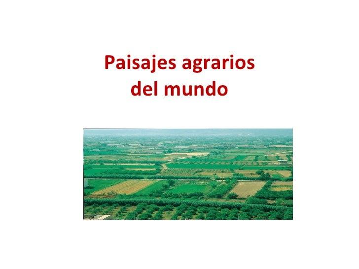 Paisajes agrarios del mundo
