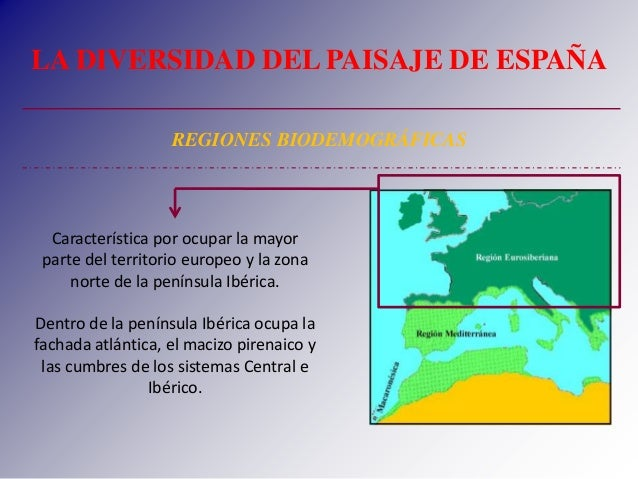 LA DIVERSIDAD DEL PAISAJE DE ESPAÑA REGIONES BIODEMOGRÁFICAS Característica por ocupar la mayor parte del territorio europ...